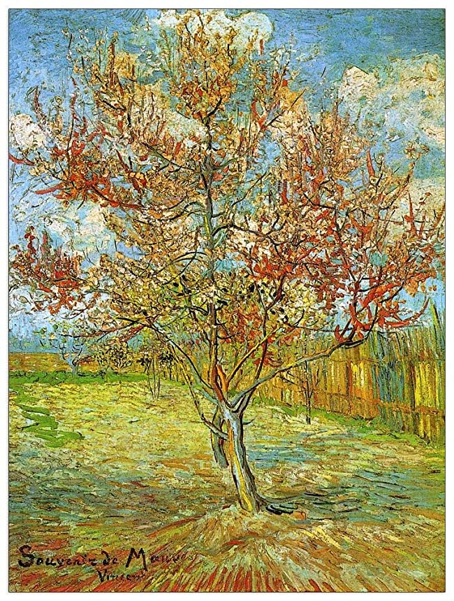 ArtPlaza TW90796 Van Gogh Vincent - Pink Peach Tree in Blossom Reminiscence of Mauve Decorative Panel 27.5x35.5 Inch Multicolored