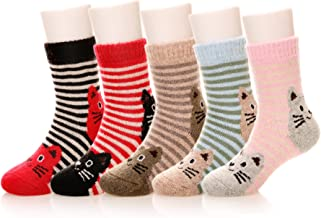 Eocom 5 Pairs Children's Winter Warm Wool Animal Crew Socks Kids Boys Girls Socks