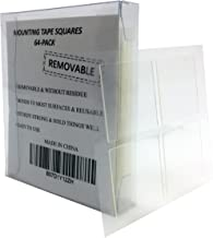 Mounting Tape Squares Double Sided Adhesive, Removable & Without Residue, Heavy Duty Pre Cut Clear 1-inch x 1-inch with 64-Pack