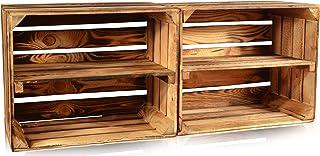 CHICCIE - Cajas de Madera flameadas para Frutas, Diferentes tamaños, Cajas de Vino, Cajas de Madera, Cajas de Manzanas, Cajas de Frutas, quemadas