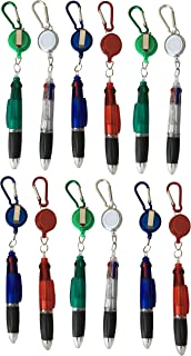 4 Ink Colors Ballpoint Pen with Retractable Reel Holder, Belt Clip and Carabiner,(12) (Clear)