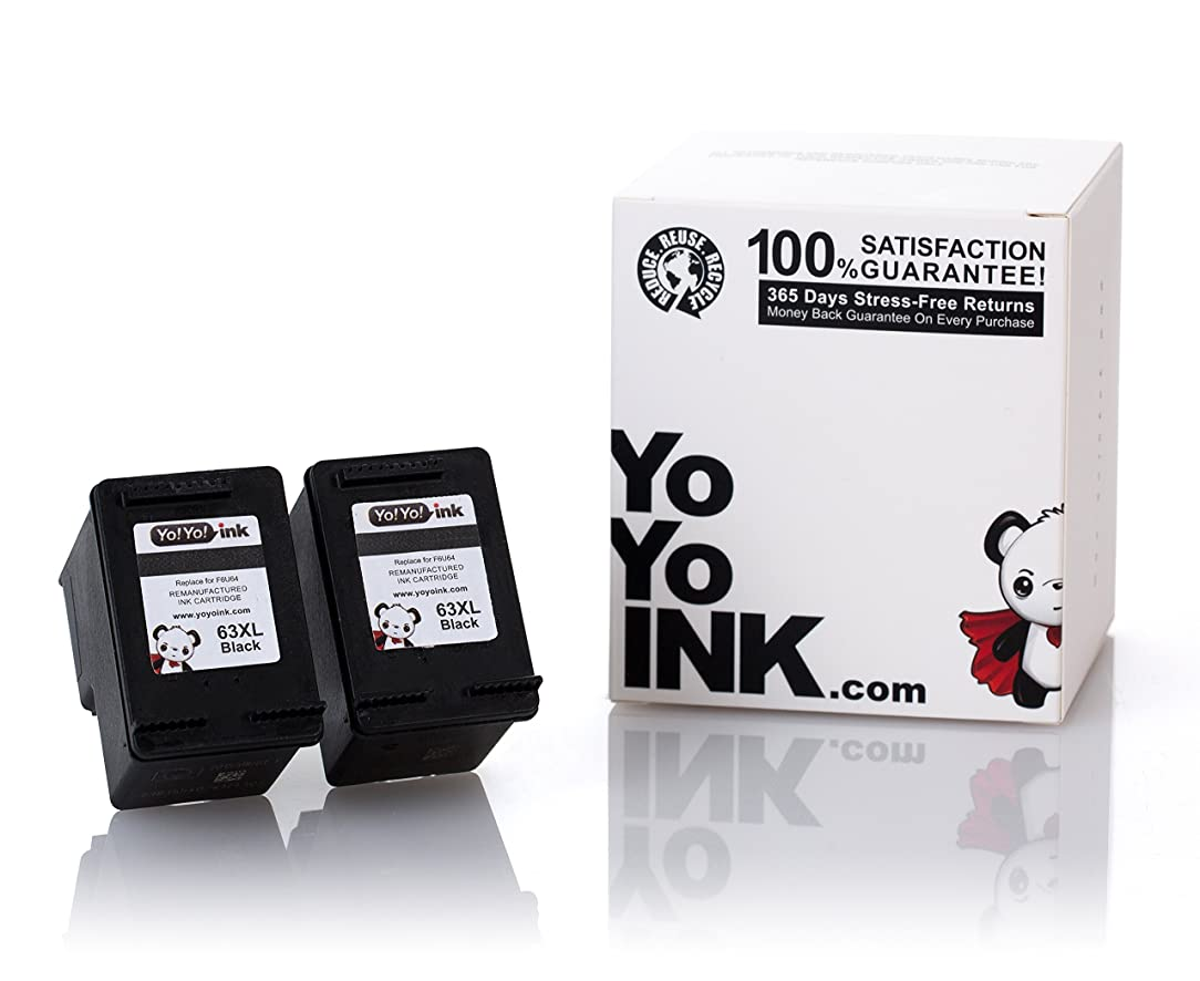 YoYoInk Remanufactured Ink Cartridge Replacement for HP 63XL (2 Black)