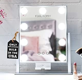 """REBEL POPPY Lighted Makeup Mirror with LED Lights and Phone Mount, 3 Lighting Touch Control, 14.5"""" x 12"""", Fogless - Counter Top Mirrors - MINI, Silver"""