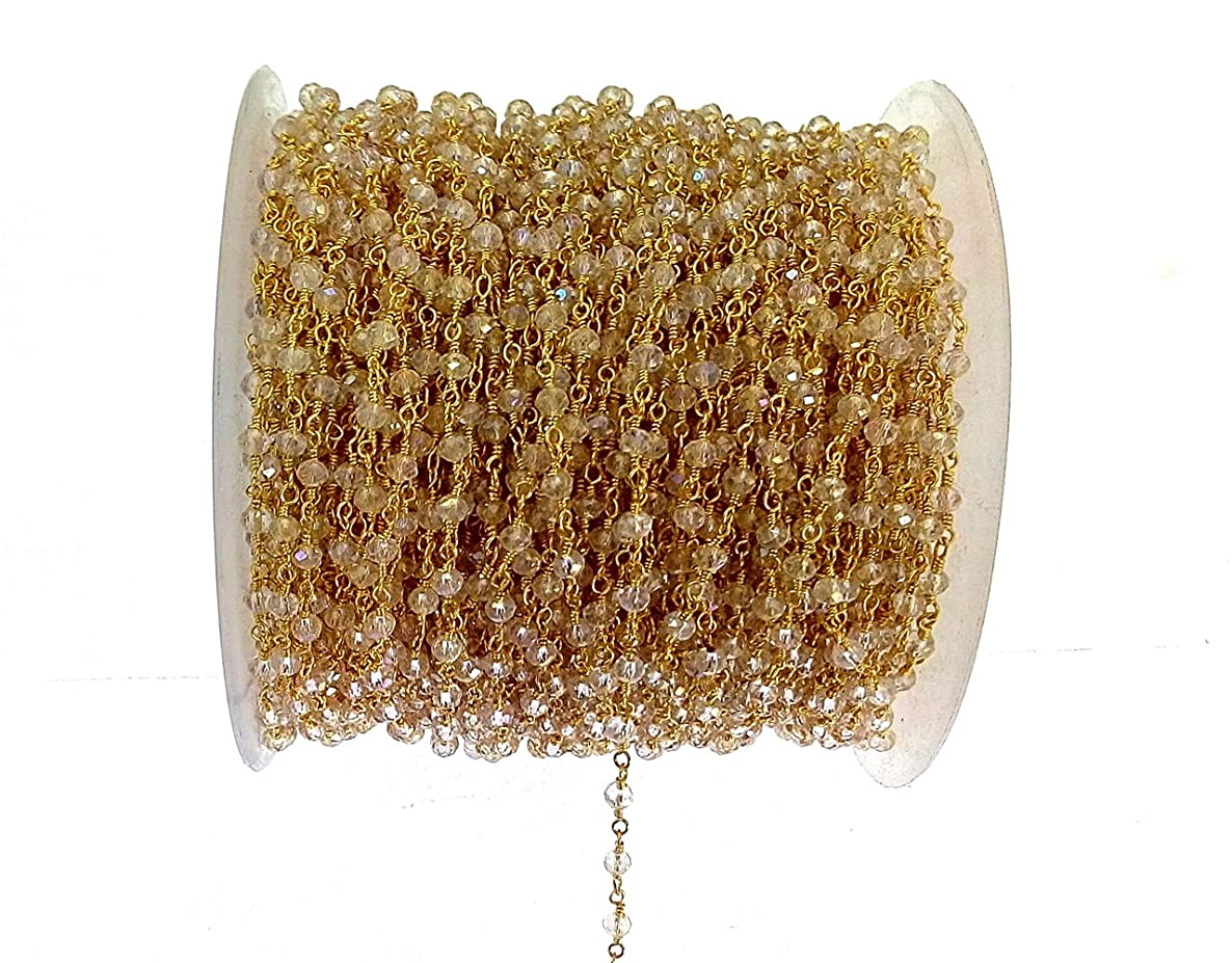 3 feet Clear Quartz Mystic Quartz Bead 3mm 24k Gold Plated Rosary Style Chain by bestinbeads, Hydro Quartz Beaded Chain by The Foot, Jewelry Making Chain