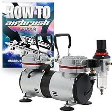 PointZero 1/3 HP Twin Piston Airbrush Compressor - Professional Quiet Tankless Oil-Less Air Pump