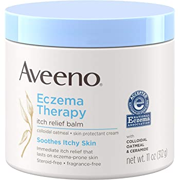 Aveeno Eczema Therapy Itch Relief Balm with Colloidal Oatmeal & Ceramide for Dry Itchy Skin, Non-Greasy, Steroid-, Fragrance- & Paraben-Free Moisturizing Skin Protectant Cream, 11 oz