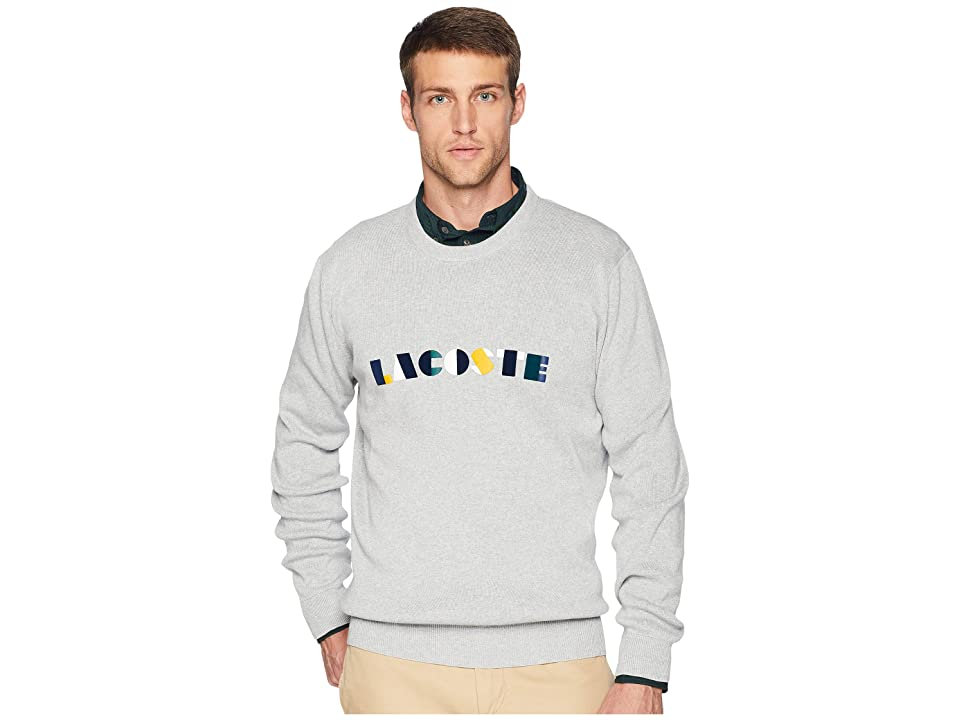 Lacoste Long Sleeve Lacoste Letter Block Graphic Sweater (Pluvier Chine/Multico) Men