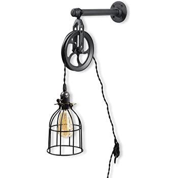 Rustic State Vintage Chic Unique Industrial Pipe and Pulley Design Wall Pendant Lamp with Fabric Cord LED Edison Light Bulb Included in Black