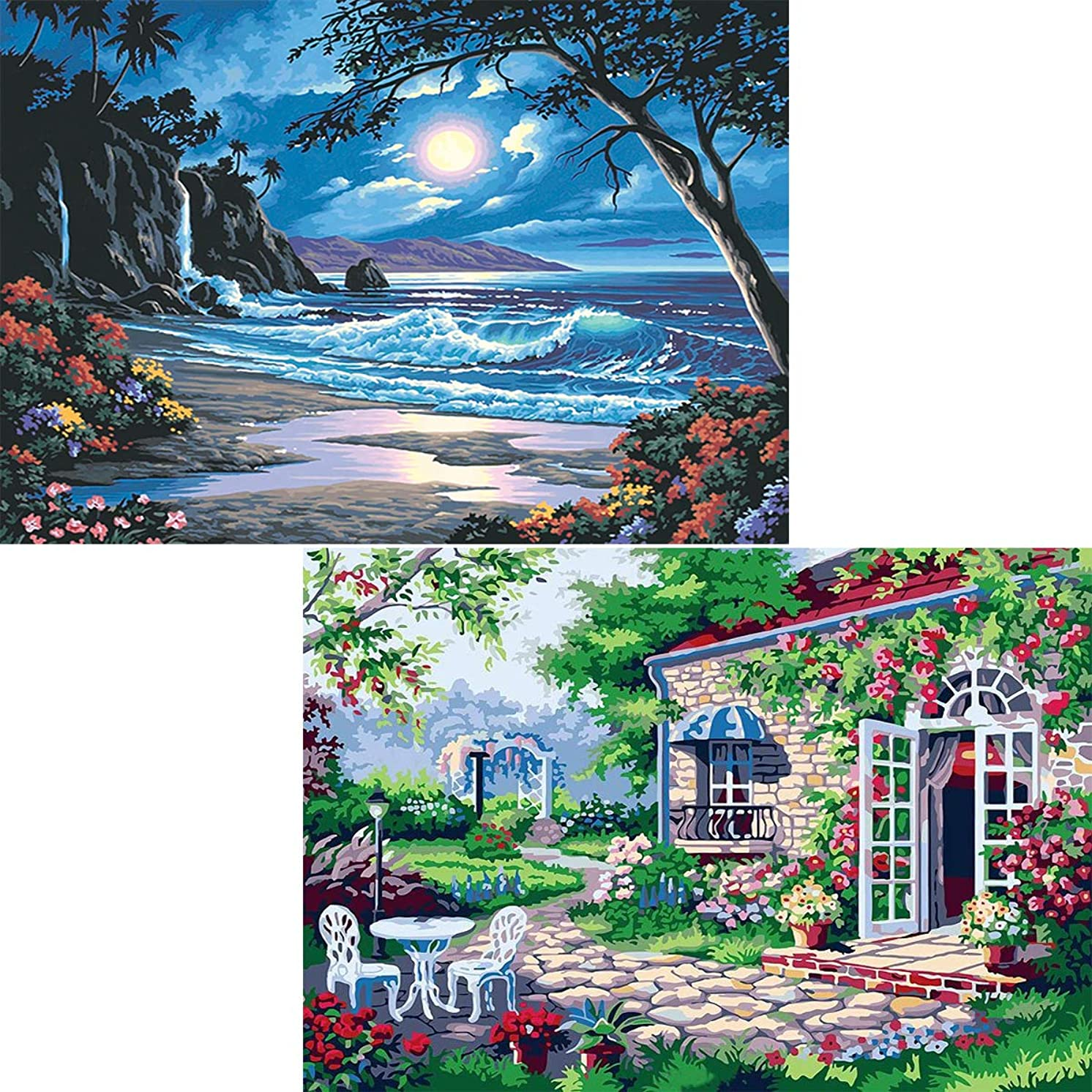 Ginfonr 5D DIY Diamond Painting Kit Moonlit Beach & Vigorous Garden for Adults Full Drill by Number Kits, Summer Landscape Paint with Diamonds Embroidery Rhinestone Cross Stitch Decor (12 x 12 inch)
