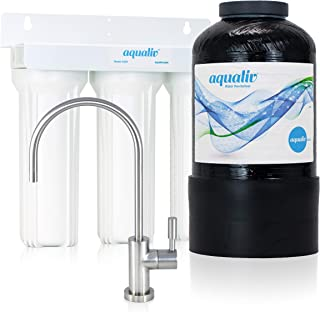 AquaLiv Water System A305 w/Modern Brushed Nickel Faucet - pH Alkaline Water, Ionizer Machine, Structured Water, Water Filter, Water Purifier