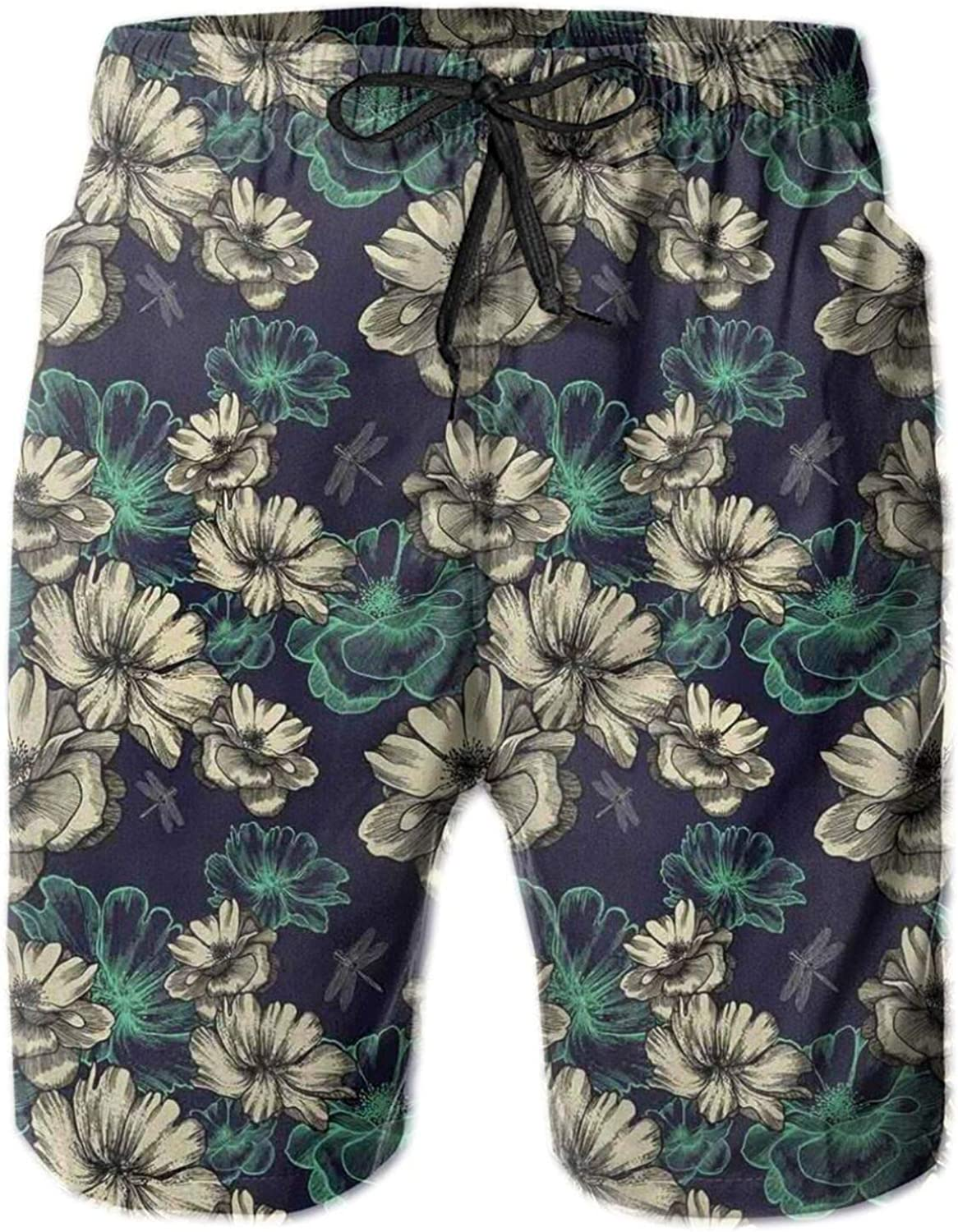 MUJAQ Pattern with Blooming Wild Flowers and Dragonflies Romantic Garden Swimming Trunks for Men Beach Shorts Casual Style,M