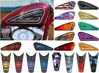 East Coast Vinyl Werkz Motorcycle Gas Tank Decals/Sets - for Harley Davidson Sportster 883 1200 Honda Shadow Suzuki Kawasaki Indian Yamaha (Old School Black - 2pc Side Tank Decals)