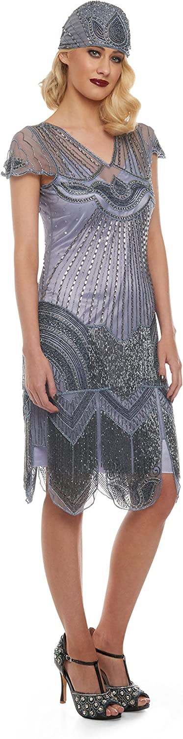 Beatrice Vintage Inspired Fringe Flapper Dress in purplec