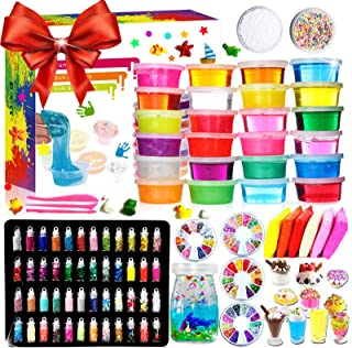 KiddosLand DIY Crystal Slime Kit – Slime Kits for Girls Boys - 24 Clear Slimes,6 Air Dry Clays,48 Glitter Powders,Slime Tools,Slime Supplies for Kids Crafts,Squeeze Stress Relief Toy Ages 3+