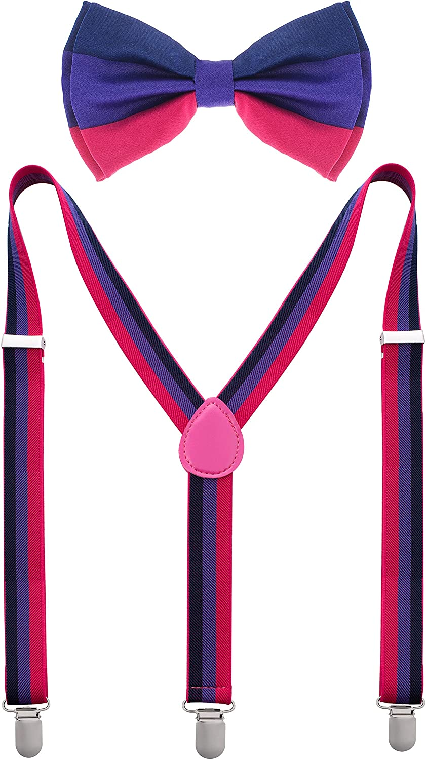New Pansexual RAINBOW SUSPENDERS and BOW TIE COMBO SET LGBT GAY Trans