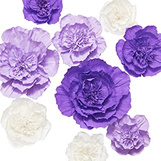 Ling's moment Paper Flower Decorations Set of 9(12''-8'' Assorted), Large Crepe Paper Flowers, Handcrafted Purple & Cream Flowers for Wall, Wedding, Nursery, Bridal Shower, Photo Backdrop, Centerpiece