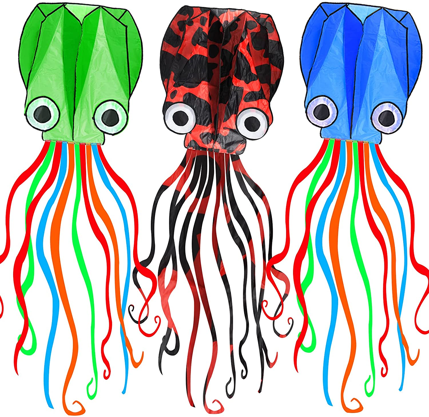 Cheap bargain Kites for Kids Easy to Fly 3 Weekly update Pack Giant Long Octopus Ta 3D Kite