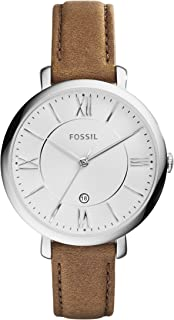 Fossil Women's 36mm Silvertone Jacqueline Brown Leather Strap Watch