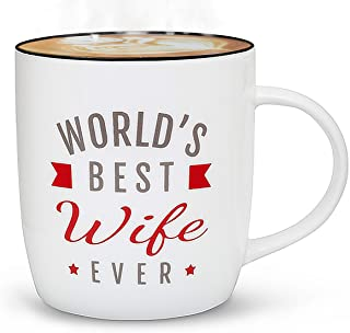 Gifffted Worlds Best Wife Ever Coffee Mug Gift For Women, Funny Greatest Wife Birthday Gifts and Valentines Day Gifts Ideas From Husband, For Her Anniversary Presents, Christmas Mugs, 13 Oz Cup, V3