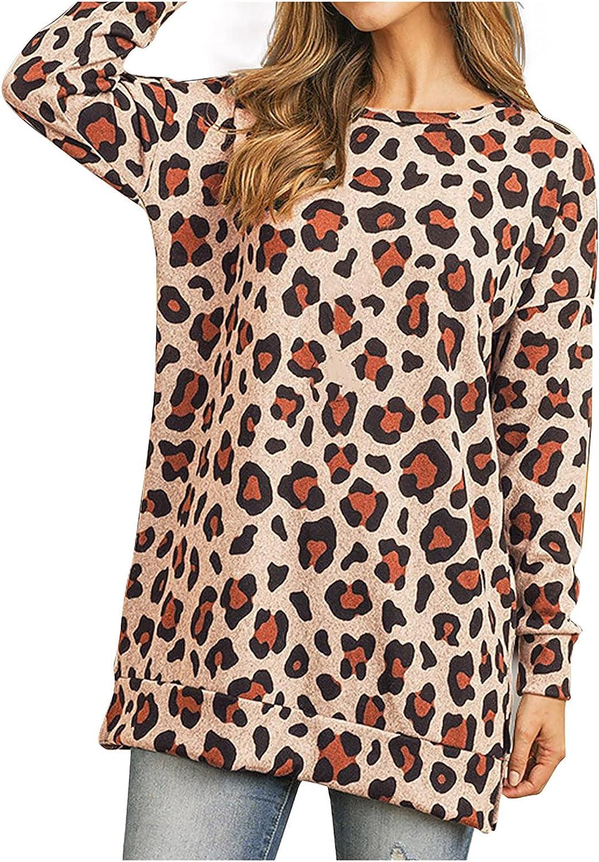 Sweatshirts for Women, Women's Long Sleeve Leopard Print Tie Dye Blouse Tops Casual Loose Pullover Tops Shirts