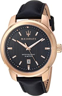MASERATI Men's SUCCESSO  Stainless Steel Quartz Leather Calfskin Strap, Black, 20.2 Casual Watch (Model: R8851121011)