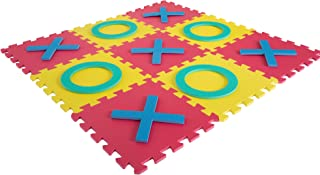 Hey! Play! Giant Classic Tic Tac Toe Game – Oversized Interlocking Coloful EVA Foam Squares with Jumbo X and O Pieces for Indoor and Outdoor Play