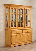 Sunset Trading Treasure Buffet and Lighted Hutch, China Cabinet, Oak