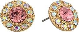 Blue by Betsey Johnson Pink and Gold Tone Halo Statement Stud Earrings