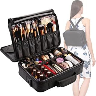 VASKER Large Makeup Case 3 Layers Makeup Bag Organizer Waterproof Travel Cosmetic Case Box Portable Train Cases for Cosmetics Black Brush Holder with Adjustable Divider Gift for Women