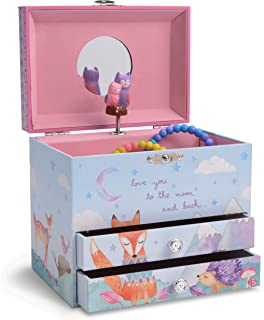 Jewelkeeper Musical Jewelry Box with 2 Pullout Drawers with Spinning Owls, Woodland Design, Twinkle Twinkle Little Star Tune