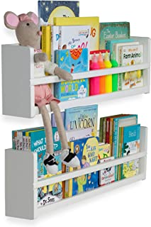 brightmaison Nursery Décor Wall Shelves – 2 Shelf Set – Wood Floating Bookshelves for Baby & Kids Room, Book Organizer Storage Ledge, Display Holder for Toys, CDs, Spice Rack – Ships Assembled