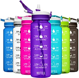 HydroMATE 32 oz Motivational Water Bottle with Time Markers with Straw BPA Free Workout Gym Fitness Bottle Times to Drink ...
