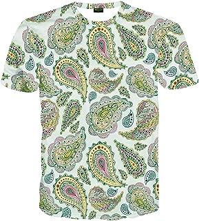 PIZOFF Women's Paisley Printed Short Sleeve Summer Casual T-Shirt