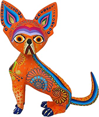 Alkimia Inc Mexican Alebrije Chihuahua Dog Wood Carving Handcrafted Sculpture Large (Orange)