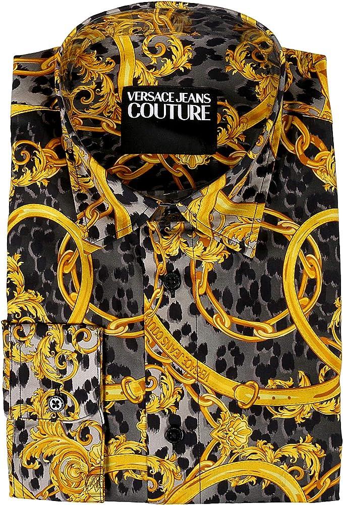 Versace jeans couture,camicia per uomo,in cotone 100%,manica lunga B1 GVA6RA SM200