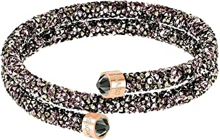 Crystal Crystaldust Multi-Colored Double Bangle, Rose Gold-Plated