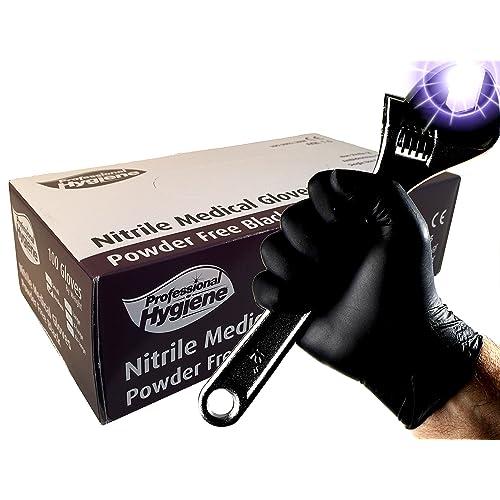 Guantes médicos desechables, resistentes, de nitrilo, de color negro, sin