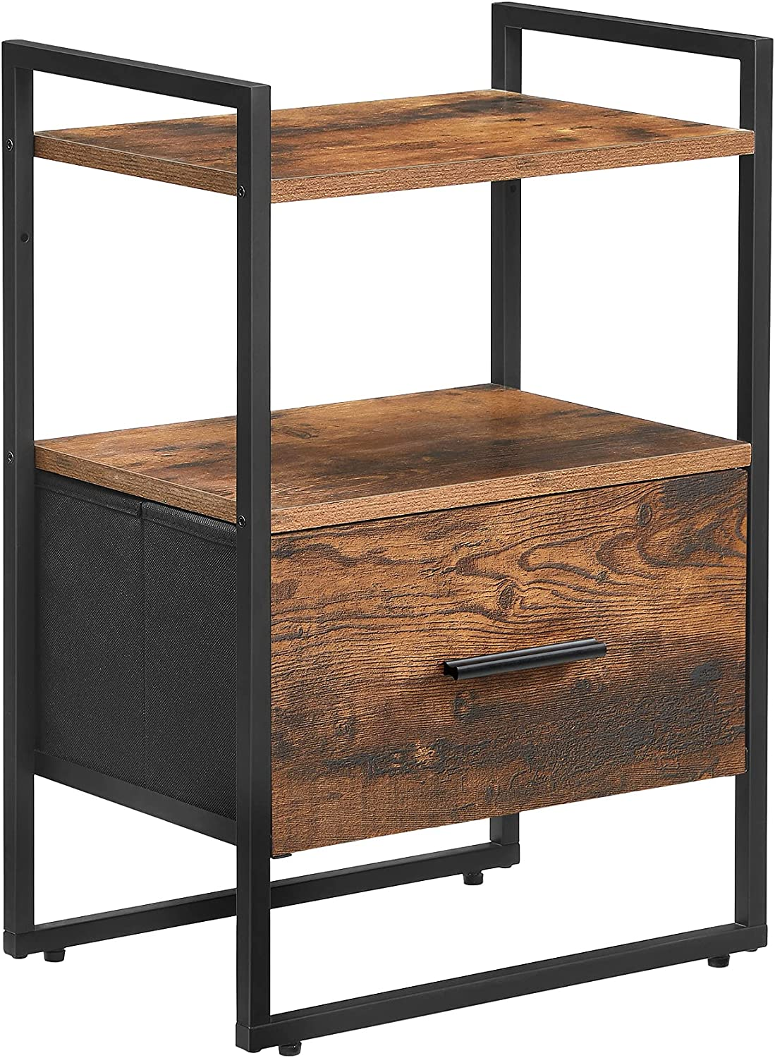 Long Beach Mall SONGMICS Nightstand End Table Fabric fo Milwaukee Mall MDF Drawer with Front