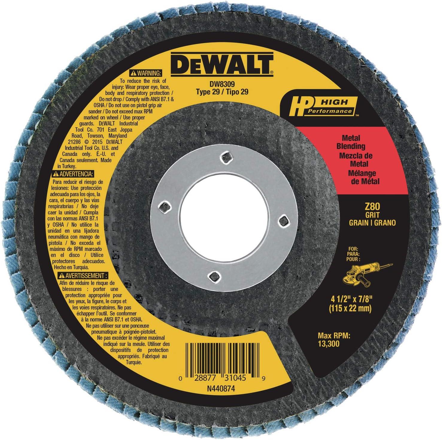 Dewalt Flap Disc, Zirconia, 4-1/2-Inch X 7/8-Inch, 80-Grit (Dw8309)