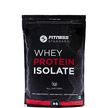 Fitness Standard's Instantized 100% Whey Protein Isolate 1 kg (All Natural, No Additives, 28.2g Protein, 0g Sugar, 7.1g BCAA, No Preservatives, Unflavored), 33 servings