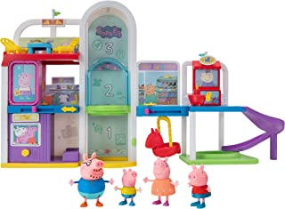 Peppa Pig Shopping Mall with Family, Includes 1 Connectable Mall Playset, 4 Character Toy Figures, 2 Chairs, 1 Pizza Table...