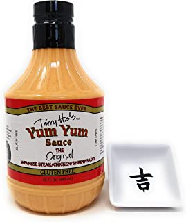 Terry Ho's Yum Yum Sauce Bundle - The Original Japanese Steak/Chicken/Shrimp/Rice Sauce and a Hibachi Restaurant Cup - The Best Pink Sauce in the Biggest Bottle Ever (32 oz)