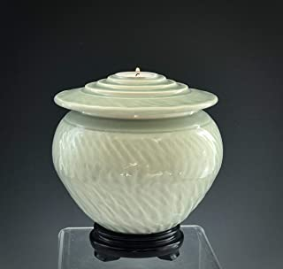 Handmade Ceramic Cremation Urn with Celadon Glaze, SacredUrnsEtc by Susan Fontaine Pottery