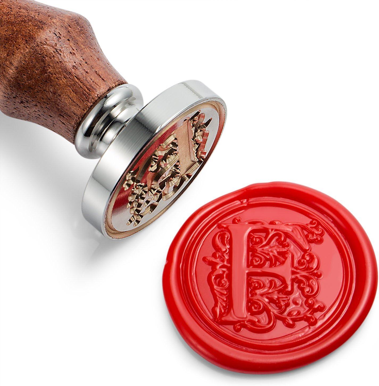 timbro di cera Mceal testa in ottone argentato con manico in legno lettera regale dalla A alla Z q