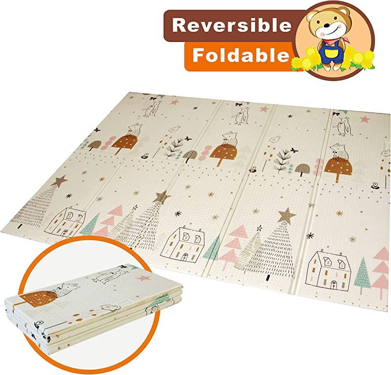 Baby Folding Mat Play Mat Extra Large Foam Playmat Crawl Mat Reversible Waterproof Portable Double Sides Kids Baby Toddler Outdoor Or Indoor Use Non Toxic Colorful 57x76x0 4in