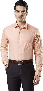 Raymond Self Design Light Orange Coloured Cotton Shirt