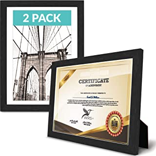 WRS+ Upgraded Black Document Picture Frame | Certificate & Diploma Frames 2 Pack Shatterproof Acrylic Glass | Display Certificates 8.5x11 Wall & Table Top