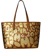MCM - Anya Leopard Print Top Zip Shopper Medium