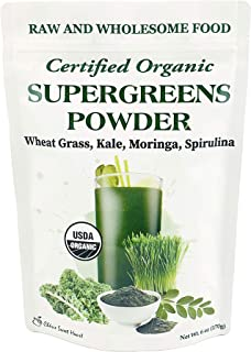 Supergreens Superfood Powder (Wheat Grass, Kale, Moringa, Spirulina), 34 Servings, Organic (6 oz)