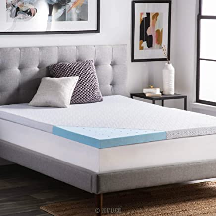 featured product LUCID 2.5 Inch Gel Infused Ventilated Memory Foam Mattress Topper with Removable Tencel Blend Cover 3-Year U.S. Warranty - Queen Size